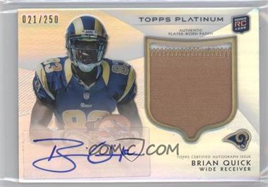 2012 Topps Platinum Autographed Rookie Refractor Patch #125 - Brian Quick /250