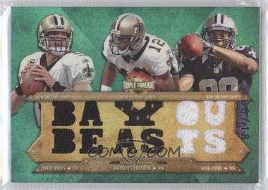 2012 Topps Triple Threads Relic Combos Emerald #TTRC-7 - Drew Brees, Marques Colston, Nick Toon /18