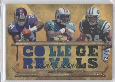 2012 Topps Triple Threads Relic Combos Sepia #TTRC-15 - Lamar Miller, Stephen Hill, David Wilson /27