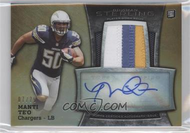 2013 Bowman Sterling - Autograph Rookie Relics - Gold Refractor #BSAR-MT - Manti Te'o /75