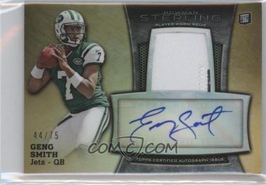 2013 Bowman Sterling Autograph Rookie Relics Gold Refractor #BSAR-GS - Geno Smith /75