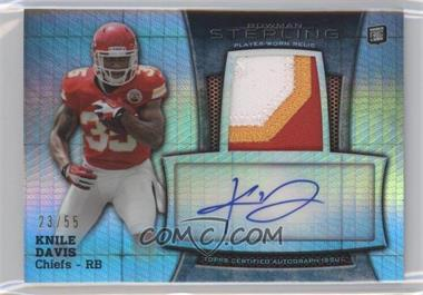 2013 Bowman Sterling Autograph Rookie Relics Prism Refractor #BSAR-KD - Knile Davis /55