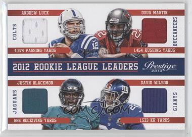 2013 Prestige League Leaders Materials Rookie Quad #5 - Andrew Luck, David Wilson, Doug Martin, Justin Blackmon /299