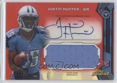 2013 Topps Finest Autographed Jumbo Relic Red Refractor #AJR-JH - Justin Hunter /75
