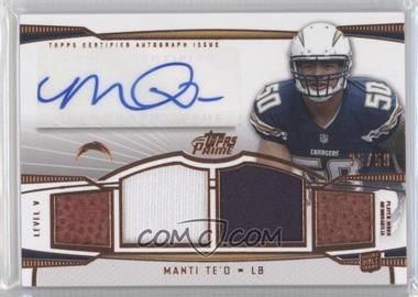 2013 Topps Prime Level V Autograph Relics Copper #PV-MT - Manti Te'o /50