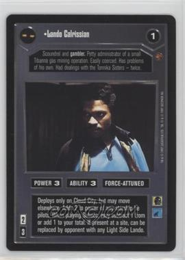 1997 Star Wars Customizable Card Game: Cloud City Expansion Set [Base] #NoN - Lando Calrissian (Dark)