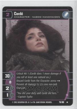 2002 Star Wars: The Trading Card Game - Attack of the Clones - Booster Pack [Base] #76 - Corde