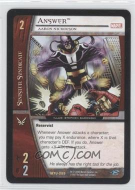 2007 VS System Marvel Team-Up Booster Pack [Base] #MTU-089 - Answer