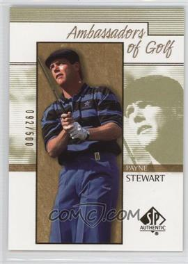 2001 SP Authentic - [Base] - Gold #133 - Payne Stewart /500