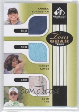 2012 SP Game Used Edition - Tour Gear Trios - Green Shirts #TG3 HOF - Annika Sorenstam, Nancy Lopez, Se Ri Pak