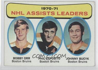 1971-72 Topps #2 - NHL Assists Leaders (Bobby Orr, Phil Esposito, John Bucyk)