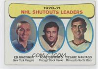 1970-71 NHL Shutouts Leaders (Ed Giacomin, Tony Esposito, Cesare Maniago) [Good…