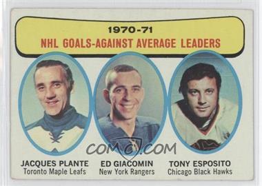 1971-72 Topps #6 - Jacques Plante, Ed Giacomin, Tony Esposito