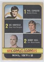 Phil Esposito, Vic Hadfield, Bobby Hull [GoodtoVG‑EX]