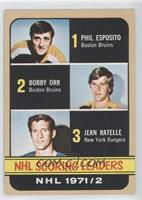 Phil Esposito, Jean Ratelle, Bobby Orr [Good to VG‑EX]