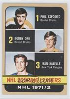 Phil Esposito, Jean Ratelle, Bobby Orr