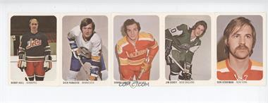 1973-74 Quaker Oats WHA Intact Strips #46-50 - Don Herriman, Jim Dorey, Danny Lawson, Dick Paradise, Bobby Hull