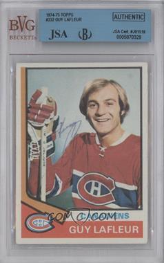 1974-75 Topps #232 - Guy Lafleur [BVG/JSACertifiedAuto]