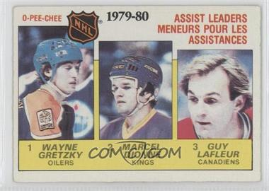 1980-81 O-Pee-Chee #162 - NHL Assist Leaders (Wayne Gretzky, Marcel Dionne, Guy Lafleur)