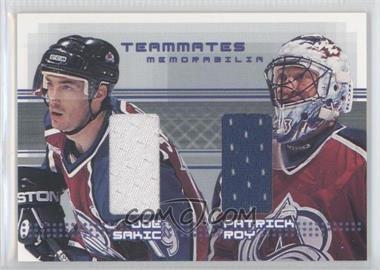 2000-01 In the Game Be A Player Memorabilia Rookie & Traded Update - Teammates Memorabilia #TM-28 - Joe Sakic, Patrick Roy