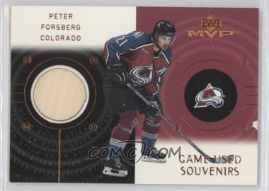 2000-01 Upper Deck MVP Game-Used Souvenirs #GS-PF - Peter Forsberg
