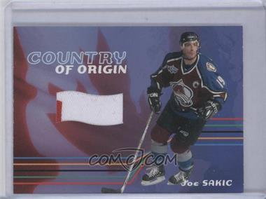 2001-02 In the Game Be A Player Memorabilia Country of Origin Jerseys #CO-05 - Joe Sakic /12