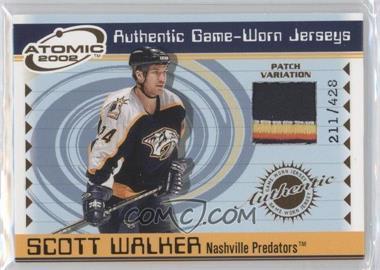 2001-02 Pacific Atomic - Game-Worn Jerseys - Patch #36 - Scott Walker /428