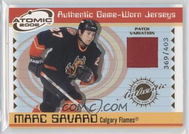2001-02 Pacific Atomic Game-Worn Jerseys Patch #6 - Marc Savard /403