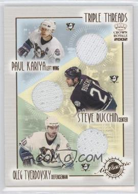 2001-02 Pacific Crown Royale Triple Threads #1 - Paul Kariya, Steve Rucchin, Oleg Tverdovsky