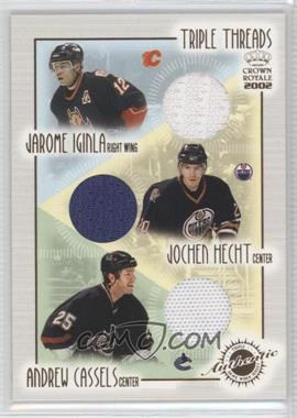 2001-02 Pacific Crown Royale Triple Threads #9 - Jarome Iginla, Jochen Hecht, Andrew Cassels