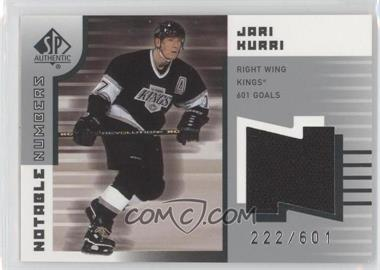 2001-02 SP Authentic Notable Numbers #NN-JK - Jari Kurri /601
