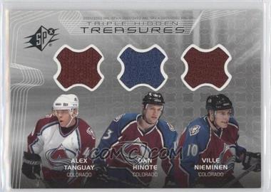 2001-02 SPx Hidden Treasures #TT-THN - Alex Tanguay, Dan Hinote, Ville Nieminen