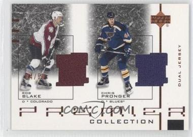 2001-02 Upper Deck Premier Collection Dual Jersey Black #D-BP - Rob Blake, Chris Pronger /50