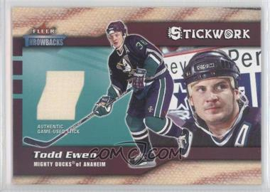 2002-03 Fleer Throwbacks - Stickwork #TOEW - Todd Ewen