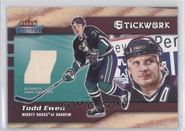 2002-03 Fleer Throwbacks Stickwork #NoN - Todd Ewen
