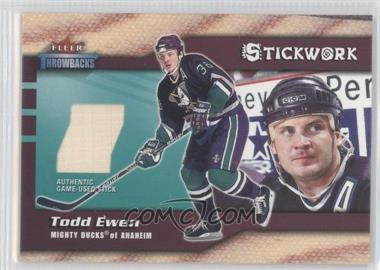 2002-03 Fleer Throwbacks Stickwork #TOEW - Todd Ewen