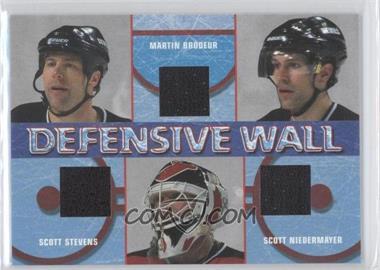 2002-03 In the Game Be A Player Signature Series - Defensive Wall #DW-6 - Scott Stevens, Martin Brodeur, Scott Niedermayer