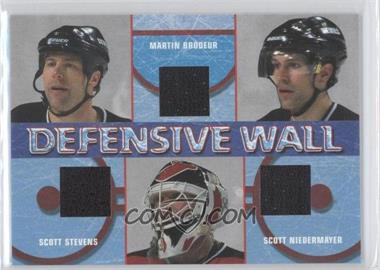 2002-03 In the Game Be A Player Signature Series Defensive Wall #DW-6 - Scott Stevens, Martin Brodeur, Scott Niedermayer