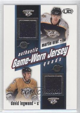 2002-03 Pacific Heads Up Game-Worn Jersey Quads #16 - Martin Erat, David Legwand, Scott Walker, Jukka Hentunen