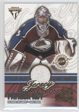 2002-03 Pacific Private Stock Titanium Authentic Game-Worn Jerseys #18 - Patrick Roy /150