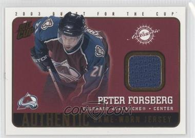2002-03 Pacific Quest for the Cup Authentic Game-Worn Jerseys #5 - Peter Forsberg