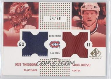 2002-03 SP Game Used Authentic Fabrics Combos Gold #CF-TK - [Missing] /99