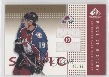 2002-03 SP Game Used Piece of History Gold #PH-SC - Joe Sakic /99