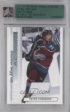 2003-04 In the Game Action Game-Used Jerseys #M-184 - Peter Forsberg /50