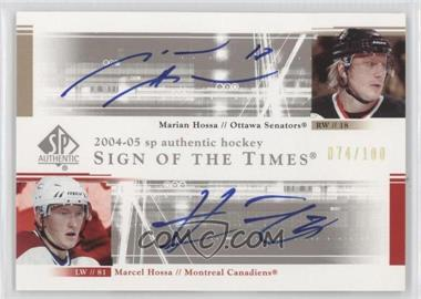 2004-05 SP Authentic Sign of the Times Dual #DS-HH - Marian Hossa, Marcel Hossa /100
