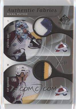 2005-06 SP Game Used Edition Authentic Fabrics Dual Patch #AP2-CO - Patrick Roy, Ray Bourque /35