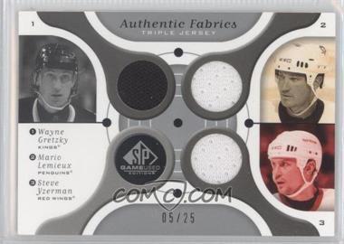 2005-06 SP Game Used Edition Authentic Fabrics Triple #AF3-GLY - Wayne Gretzky, Steve Yzerman, Manny Legace /25