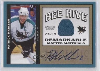 2006-07 Upper Deck Bee Hive Matted Materials Remarkable [Autographed] #MM-PM - Patrick Marleau /15