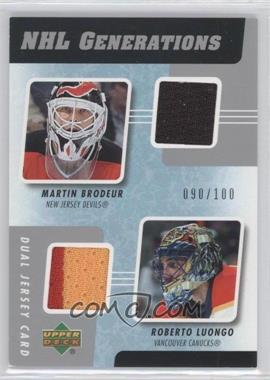 2006-07 Upper Deck NHL Generations Dual Jersey #G2-BL - Roberto Luongo /100