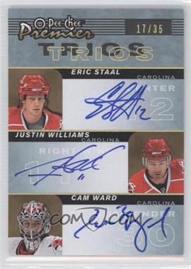 2007-08 O-Pee-Chee Premier - Trios Signatures #PP3-WSW - Eric Staal, Cam Ward, Justin Williams /35